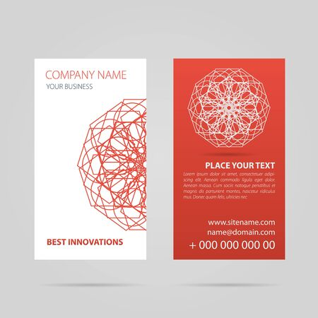 Vector illustration. Drawing. Red vertical business card with abstract pattern, mandala. Template of identity for company or for personal use