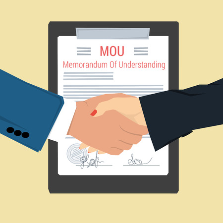 Vector concept memorandum of understanding - MOU. Man and woman shaking hands on background of signed document with seal. Flat style. Web infographic