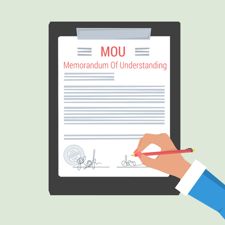 Vector concept memorandum of understanding - MOU. Hand making the signature on the document sheet. On light background. Flat style. Web infographic