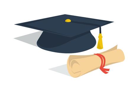 Vector ilustración aislada sombrero de estudiante y diploma rollo. Diseño imágenes prediseñadas para la educación en línea concepto de distancia, e-learning en Internet, la vida los estudiantes. estilo plano
