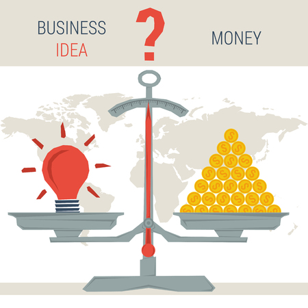 proposition: Vector infographic value business idea. Scales with idea lamp and pile of money coins. The question - money or value proposition. Flat style concept illustration. Web infographics Illustration
