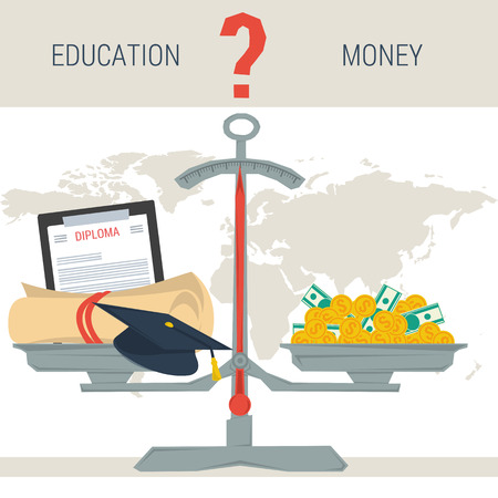 Vector infographic value of education. Scales with diploma education student hat and pile of money. The question - education or money. Flat style concept illustration. Web infographics Illustration