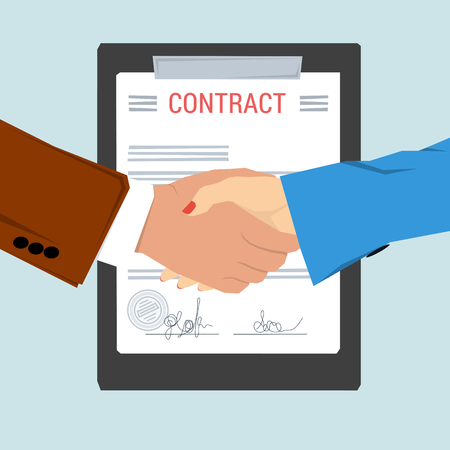 Vector concept contract, agreement. Man and woman shaking hands on background of signed document with seal. Flat style. Web infographic