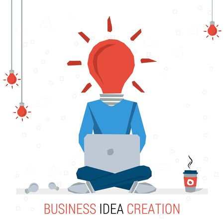 proposition: Vector infographic business idea. Man worker sits with computer and coffee - lamp instead of head. Flat concept process of human thinking and finding the best solutions. Flat style. Web infographics