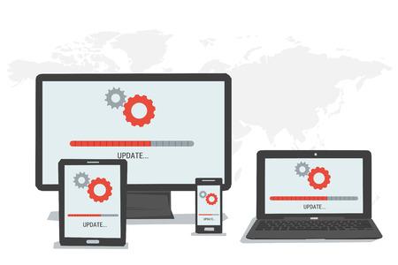 Concepto del vector barra de estado de actualización fácil en la pantalla del teléfono inteligente tableta de ordenador portátil. estilo plano. infografía web
