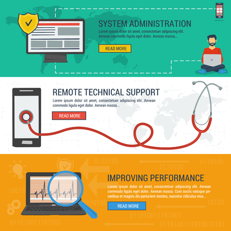 tech support: Three vector banners. Concept system administration. Stethoscope on smartphone - remote technical assistance and technical support. Improving performance. Flat style. Web infographics Illustration