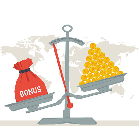 better price: Vector infographic value of bonus. Scales with bonus bag and pile of money coins. Flat style concept illustration. Web infographics