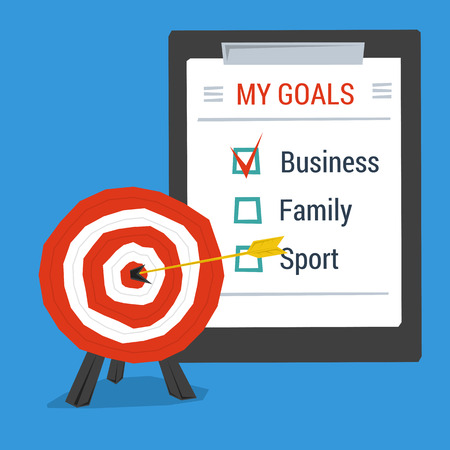 personal goals: Business concept personal goals. Target with arrow in center and list of goals. Flat style Illustration
