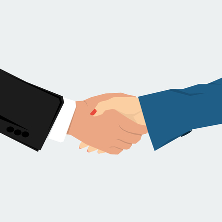 agreement shaking hands: Vector concept contract, agreement. Man and woman shaking hands on isolated background. Flat style