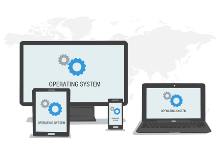 operating system: Vector concept OS operating system on the screen of computer tablet laptop smartphone. Flat style. Web infographics