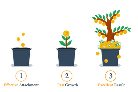 three points: Vector isolated web infographic steps of successful business growth. Money tree in pot. Planting, growth and result. Three points for financial concept in flat style.