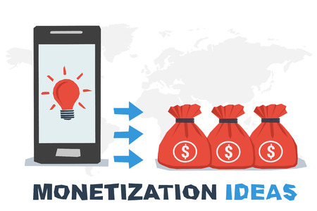 Vector concept abstract monetization ideas. Idea lamp on mobile screen and profit as miney in bags. Flat style. Infographics Illustration