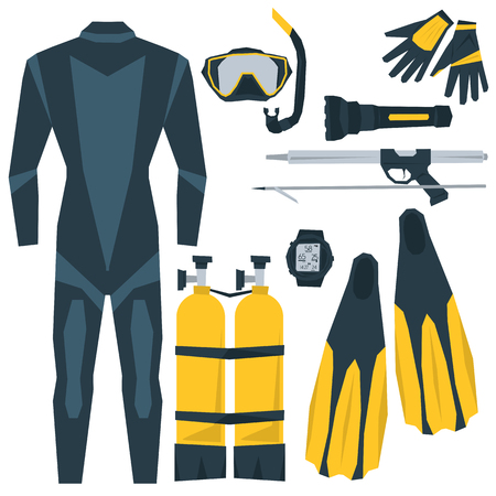 speargun: Vector icons set of diving. Equipment for diving aqualung, oxygen cylinders, depth gauge, flashlight, snorkel and mask, flippers, gloves, speargun. Flat style. Isolated on white for your design