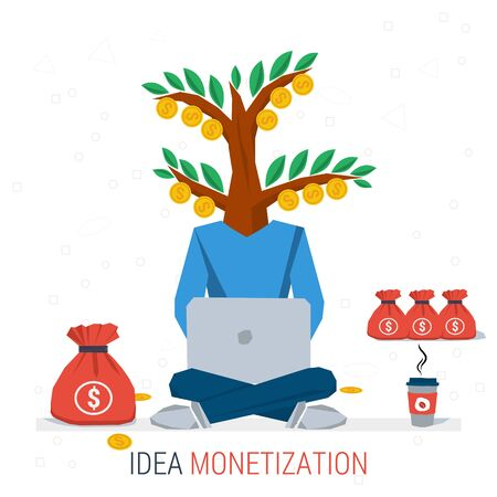 monetization: Vector infographic business idea monetization. Man worker sits with computer and coffee - money tree instead of head. Flat concept process of idea creation and monetization. Flat style. Infographics