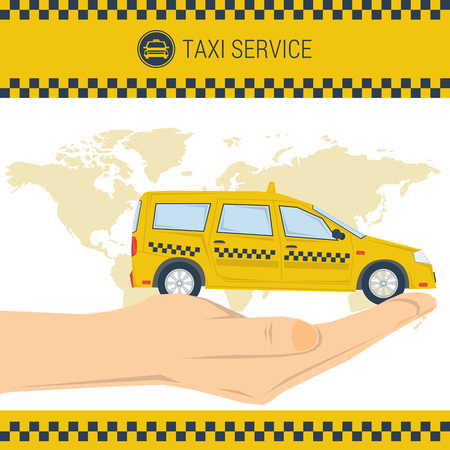 conveniently: Vector banner taxi service. Taxi car on palm. Eco taxi. Best taxi. Flat style. Web banner