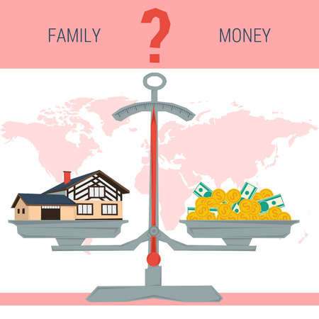 home value: Vector infographic value of family, home. Scales with house and pile of money. The question - family or money. Business Property Concept. Flat style concept illustration. Web infographics
