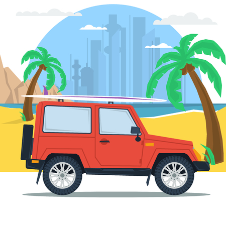 jeep: Vector web concept of sport, outdoor recreation, adventures in nature, vacation. Travel summer jeep car on beach with palm. With surfing board on top. Flat style. Wanderlust. Downshifting