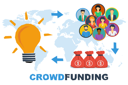 initiator: Vector crowdfunding concept. New business model. Three steps - good project idea, funding by crowd, receiving a profit. Flat style. Web banner, infographic Illustration