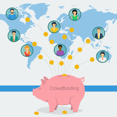 Vector crowdfunding concept. New business model. People from around the world pass the money to successful project in piggy bank. Flat style. Web banner, infographic