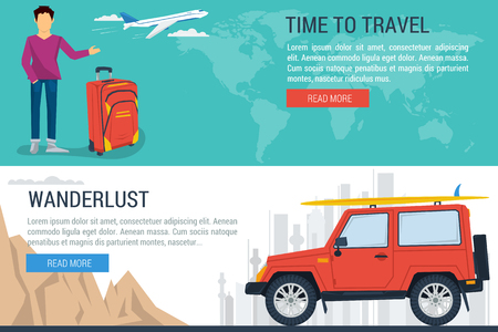 wanderlust: Vector web concept of sport, outdoor recreation, adventures in nature, vacation, travel. Two horizontal banners summer travel plane and car. Template for web design. Flat. Wanderlust. Downshifting