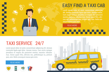 color consultant: Vector concept of taxi service, technical car support and dispatcher call center. Male operator and taxi cab on city silhouette. Flat style. Two horizontal banners. Web infographics Illustration