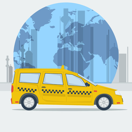 conveniently: Vector illustration taxi car on town background. Taxi car. Eco taxi. Taxi in town. Best taxi. Flat style