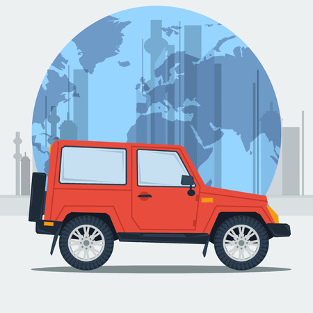 conveniently: Vector illustration jeep car on town background.  Jeepney. Travel journey car. Best taxi. Flat style