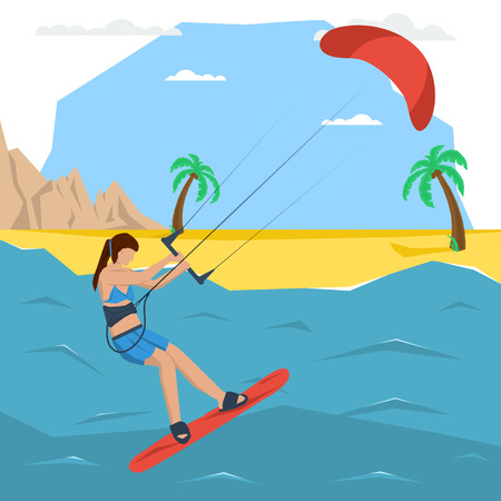 kite surf: Vector kitesurfing girl concept. Flat style. Web infographics Illustration