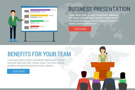 Vector concept public speaking and business conference. Woman orator speaking from tribune and listeners in auditorium on chairs. Businessman with information board. Flat style. Web infographics