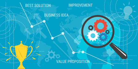 proposition: Vector business background. Concept improvement, value proposition, business idea, earnings growth. Magnifier and abstract lines and transparent elements. Flat style. Web infographic Illustration