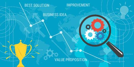 valor: Vectorial conocimiento de los negocios. mejora concepto, propuesta de valor, idea de negocio, crecimiento de las ganancias. Lupa y líneas abstractas y elementos transparentes. estilo plano. infografía web