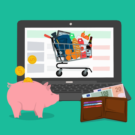 conveniently: Vector concept advantages methods shopping online. Infographics of online payment and fast delivery of goods. Cash, money pig and shopping trolley with a laptop. Flat style. Web infographics