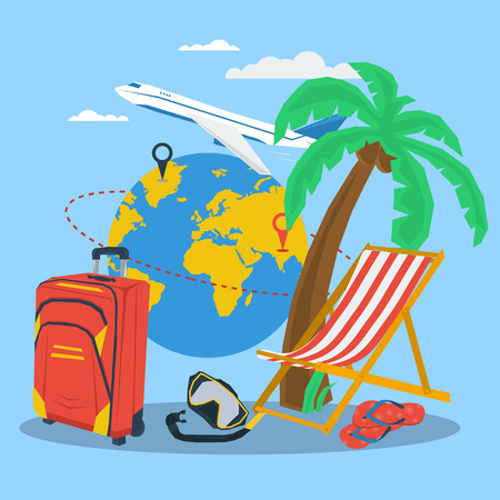 deck chair: Vector summertime traveling concept. Route on globe, palm, plane, deck chair. Flat style. Web infographic on blue background
