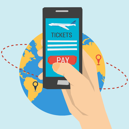 online service: Vector concept order tickets online. Easy booking flights  travel. Smartphone with button pay. Flat illustration Illustration