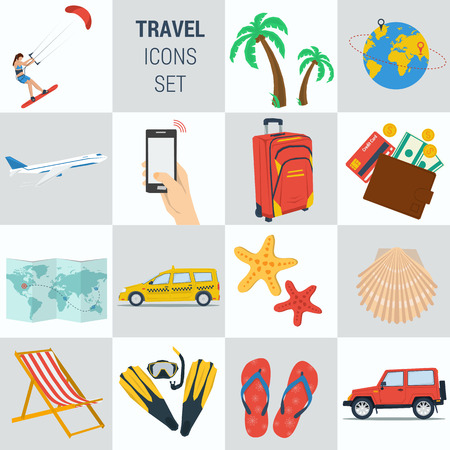 cash book: Vector set 15 travel vacation icons on square form. Female accountant, money calculator, documentation book, calendar, bonus cash, smartphone. Flat style. Isolated web infographic