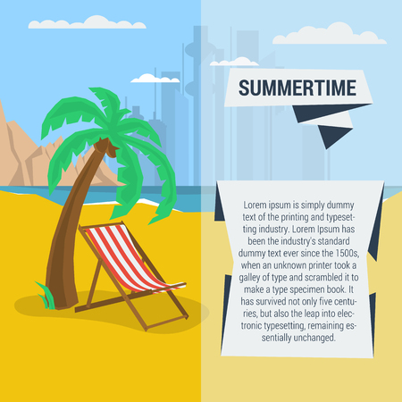 deck chair: Vector summertime traveling template with beach palm tree, deck chair. Flat style