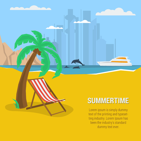 adverts: Vector summertime square traveling concept. Deck chair under palm tree on beach. Yacht in the sea, dolphins, moutains. Text template. Flat style. Web infographic Illustration