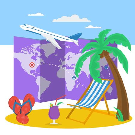 Vector summertime vacation concept. Route on map and deck chair under palm tree. Plane in sky and sandals, cocktail on beach. Flat style. Web infographic