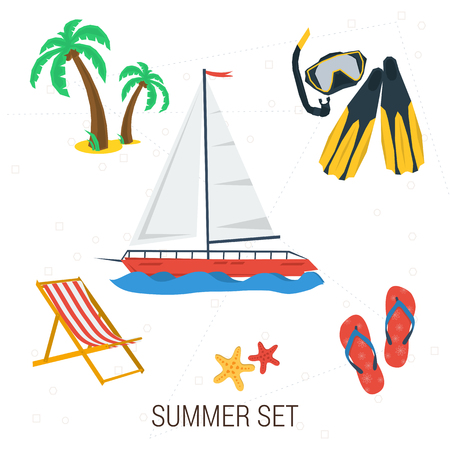deck chair: Vector summer traveling icons. Concept of rest. Yacht, diving equipment, palm, deck chair on isolated background. Flat style. Web infographic Illustration