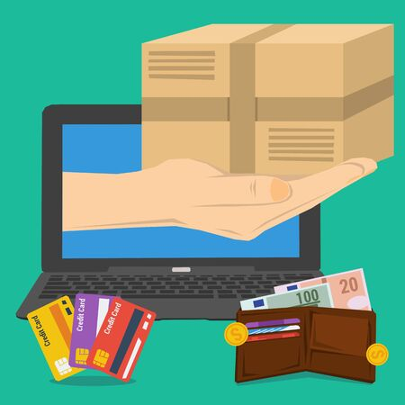 fast money: Vector concept fast delivery service. Cargo transportation, parcel delivery. Money and credit cart. Hand from laptop with postbox. Flat style. Web infographic Illustration