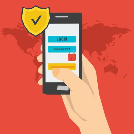 Vector concept mobile payment using login and password  identification. Safe data and safe using a smartphone. Mobile account. Modern concept for web banners, web sites, infographics in flat style Illustration