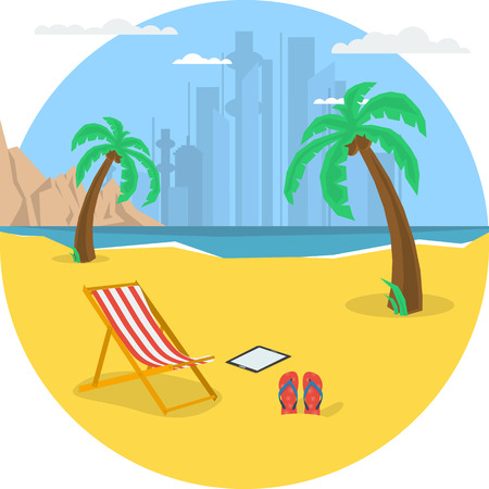 deck chair: Vector summertime round traveling concept. Deck chair under palm tree on beach. Yacht in the sea, dolphins, moutains. Flat style. Web infographic