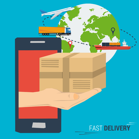 ordering: Vector concept fast delivery service. Cargo transportation anywhere in the world, delivery. Quick and easy ordering and delivery. Hand from smartphone with postbox. Planet with transport. Flat style