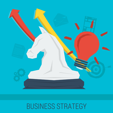 caballo de ajedrez: Vector de fondo de negocio o estrategia concepto de negocio, mejora, gestión exitosa, buena idea. Caballero del ajedrez con flechas hacia arriba y líneas abstractas. estilo plano. infografía web