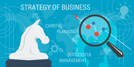 succes: Vector business background. Concept strategy of business, improvement, successful management, careful planning. Magnifier with chart up and abstract lines, head silhouette. Flat style. Web infographic