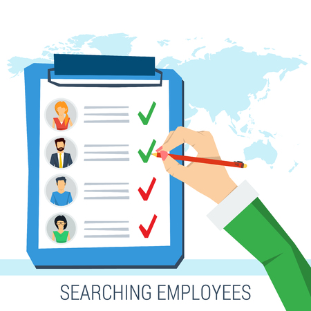 candidates: Vector concept employee search. List candidates to work with photos and skills description. Hand with pen picking business person with list of requirements. Flat style. Web infographics