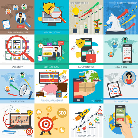 Sixteen square vector business concept. Startup mobile data safe and financial. Tax, delivery and call to action in flat style. Web infographics