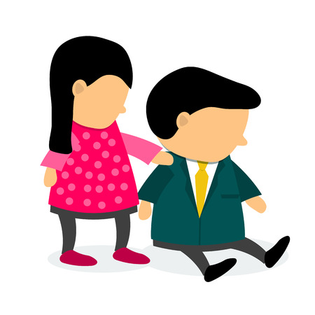 encourage: Vector illustration. Women encourage husband who is depressed. Medical concept. Family life and relationships. Flat style Illustration