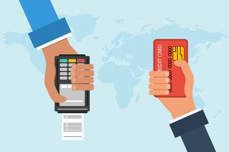 transferring: Flat design vector concept of mobile banking. Two hands with credit card and atm terminal on background map of the world. Transferring money and payment Illustration