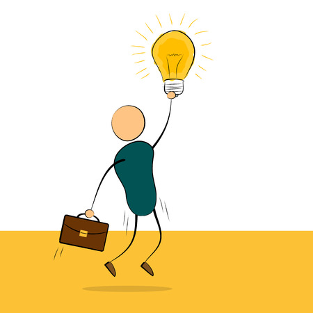 proposition: Vector cartoon illustration jumping businessman with idea lamp in hand and portfolio. Concept of successful employee, good idea, value proposition